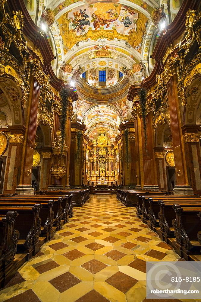 Frescoed ceiling of the church, Melk Abbey, Benedictine abbey, Melk, Wachau Cultural Landscape, UNESCO World Heritage Site, Danube, Wachau, Austria, Europe