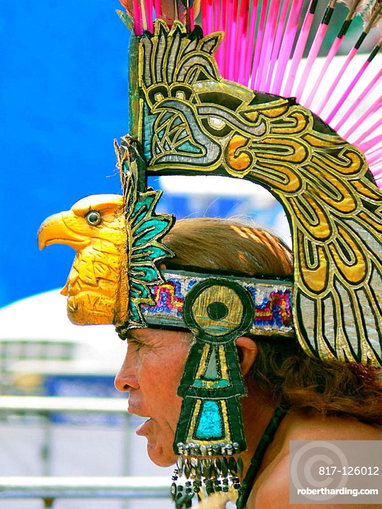 Aztec dancer at the Zocalo, Mexico City, Mexico