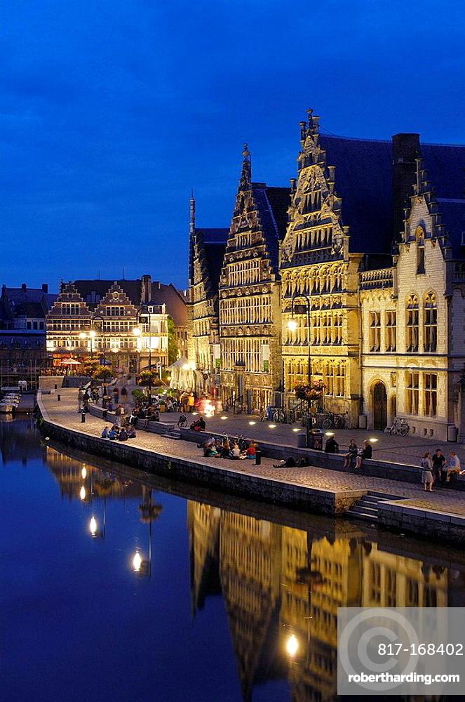 Guild Houses & Leie River at Dusk, Ghent, Belgium.