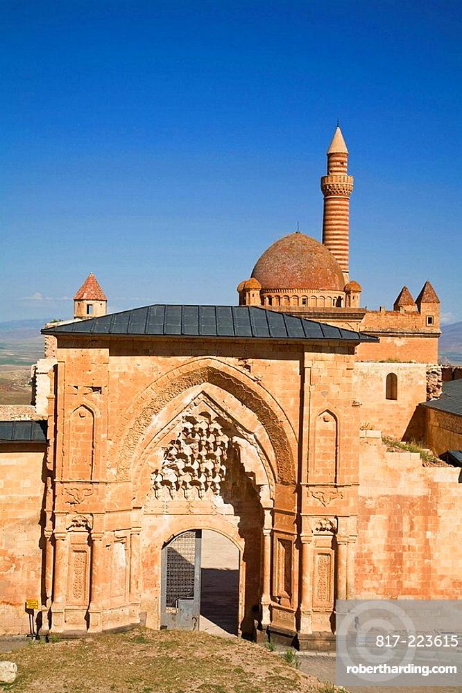 Turkey, Anatolia, Dogubayazit, Ishak Pasa Palace, Entrance gate with Seljuk style carvings