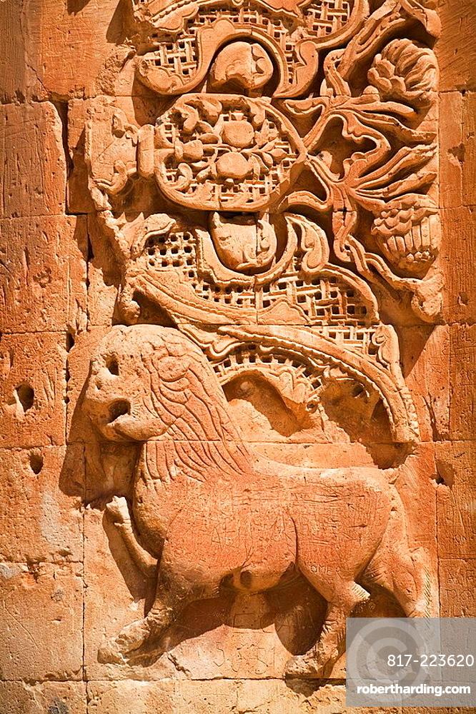 Turkey, Anatolia, Dogubayazit, Ishak Pasa Palace, Second courtyard, Seljuk carvings on entrance gate to Haremlik