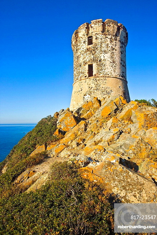 Genoese tower at Parata Point, Corse-du-Sud, Corsica Island, France