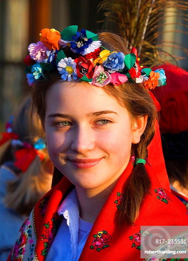Girl at traditional Krakowian costume  Krakowianka  Poland