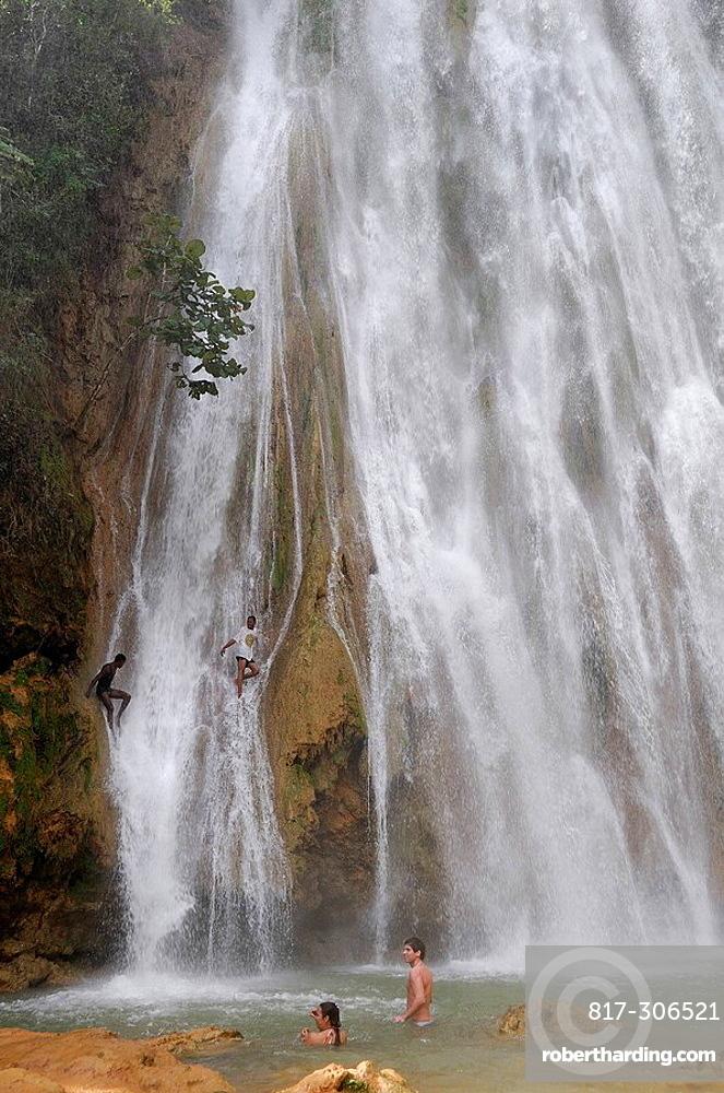 Waterfall Cascada El Limon, Las Terrenas, Samana Peninsula, Dominican Republic. Waterfall Cascada El Limon, Las Terrenas, Samana Peninsula, Dominican Republic