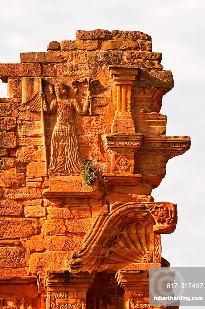 Ruins of the Jesuit reduction San Ignacio Mini, Detail of the Church gate, Misiones Province, Argentina, South America, Unesco World Heritage Site
