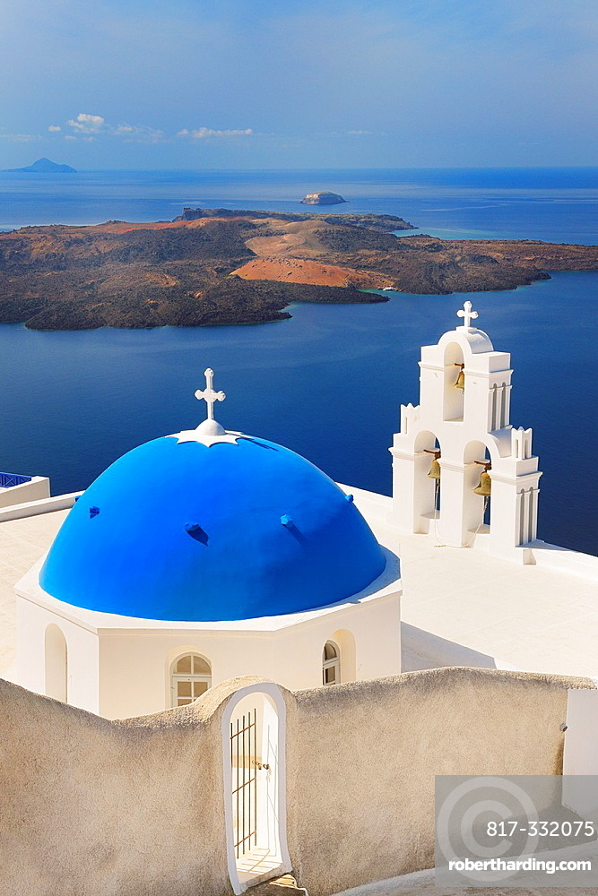 Blue domes of church in Firostefani village, Santorini, Aegean Island, Cyclades Island, Greek Islands, Greece, Europe