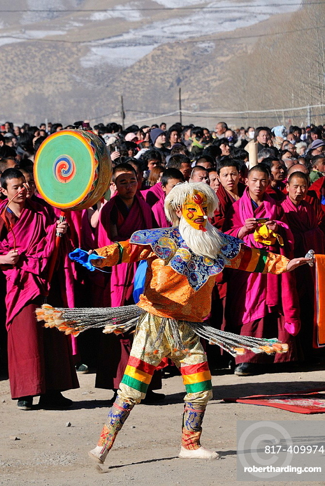 China, Gansu, Amdo, Xiahe, Monastery of Labrang Labuleng Si, Losar New Year festival, Masked Dance at the bottom of the giant Thangka