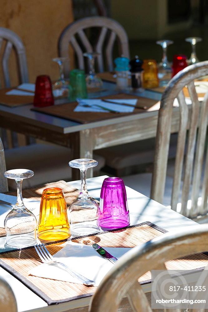 France, Corsica, Haute-Corse Department, Le Cap Corse, Nonza, restaurant table detail