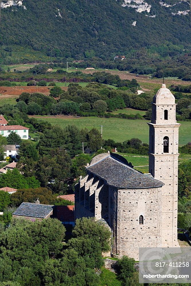 France, Corsica, Haute-Corse Department, Le Cap Corse, Patrimonio, elevated view of Eglise St-Martin church