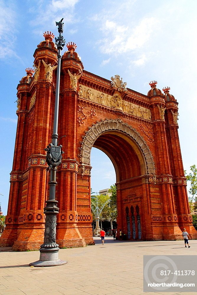 Barcelona Spain Arc de Triomphe at the Lluis Companys ride from the city of Barcelona