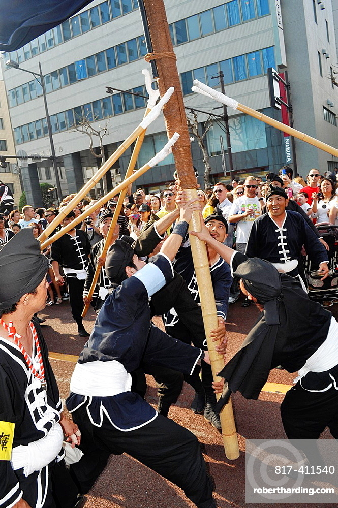 Naha, Okinawa, Japan, Okinawan men along the Route 58 during the Tug of war Festival, October