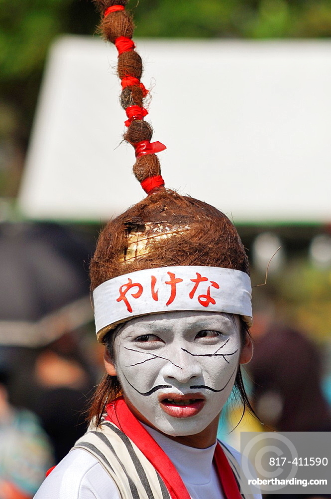 Uruma City, Okinawa, Japan, man at Eisa Festival