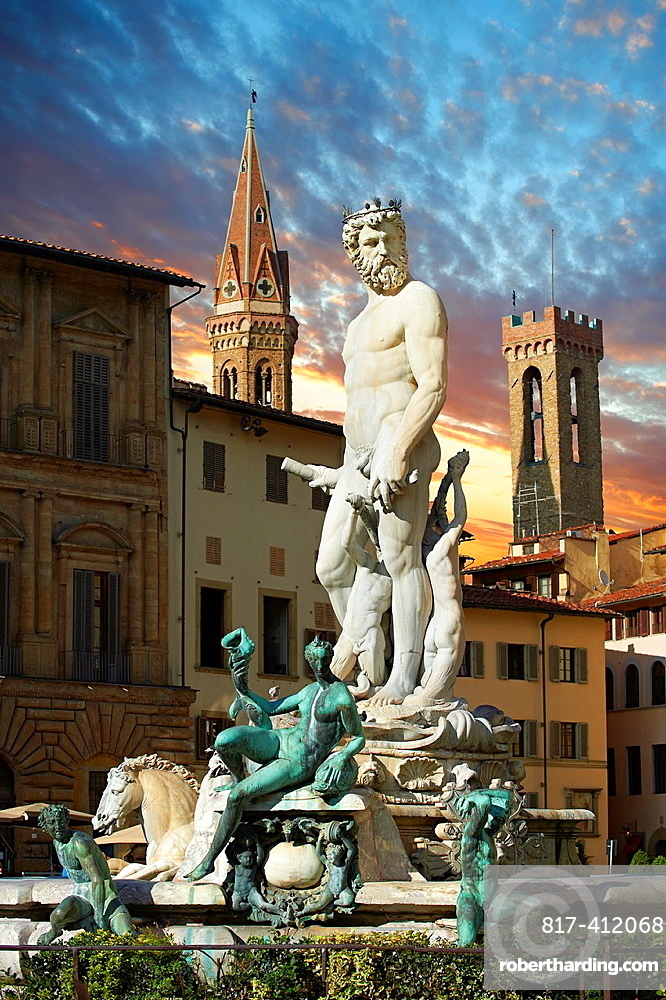 The Fountain of Neptune by Bartolomeo Ammannati 1575, Piazza della Signoria in Florence, Italy,