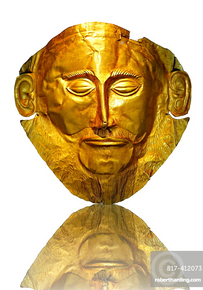 Gold Death Mask Known as the ¥mask of Agamemnon¥ from Grave V, Grave Circle A, Mycenae The mask is made of a thin sheet of beaten gold & shows a man with a beard 16th century BC Cat No 624 Athens Archaeological Museum