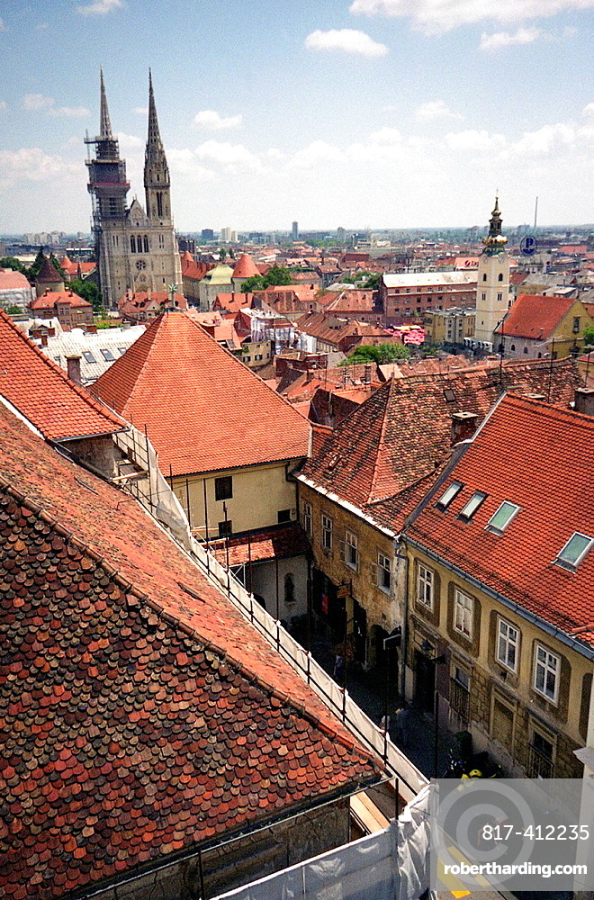 Old part in croatian capitol city of Zagreb St Stephen cathedral and Stone gate Kamenita vrata building is touristic places