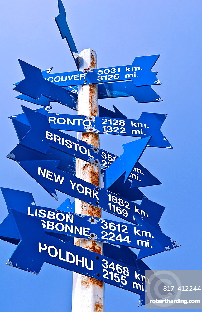 Newfoundland Canada St Johns capital at Signal Hill directions around the world sign