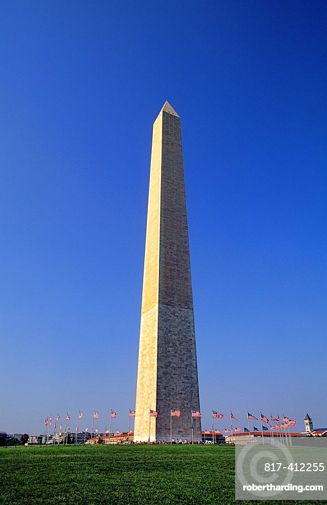 The beautiful color of the Washington Monument needle towards the sky in Washington DC in the USA