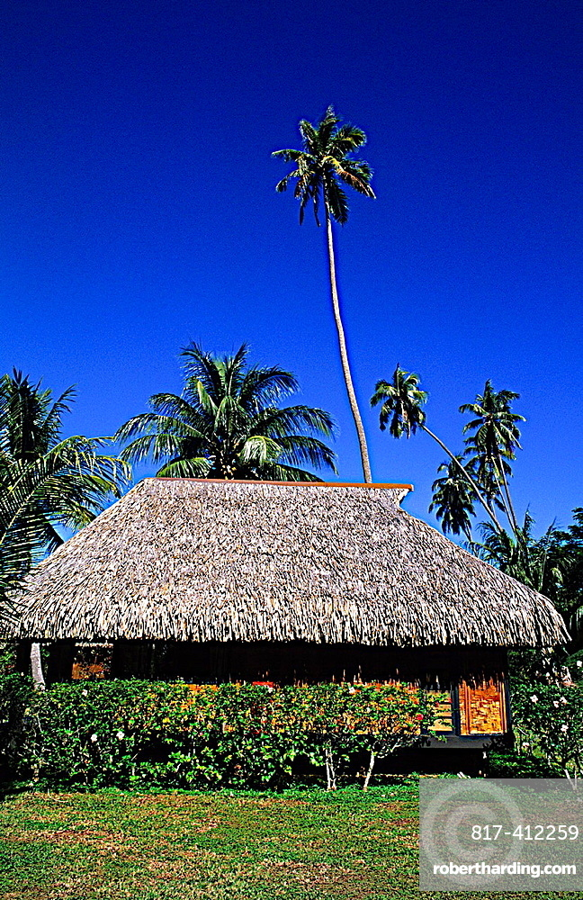 Local house as grass hut in Tahiti in island of Bora Bora in French Polynesia