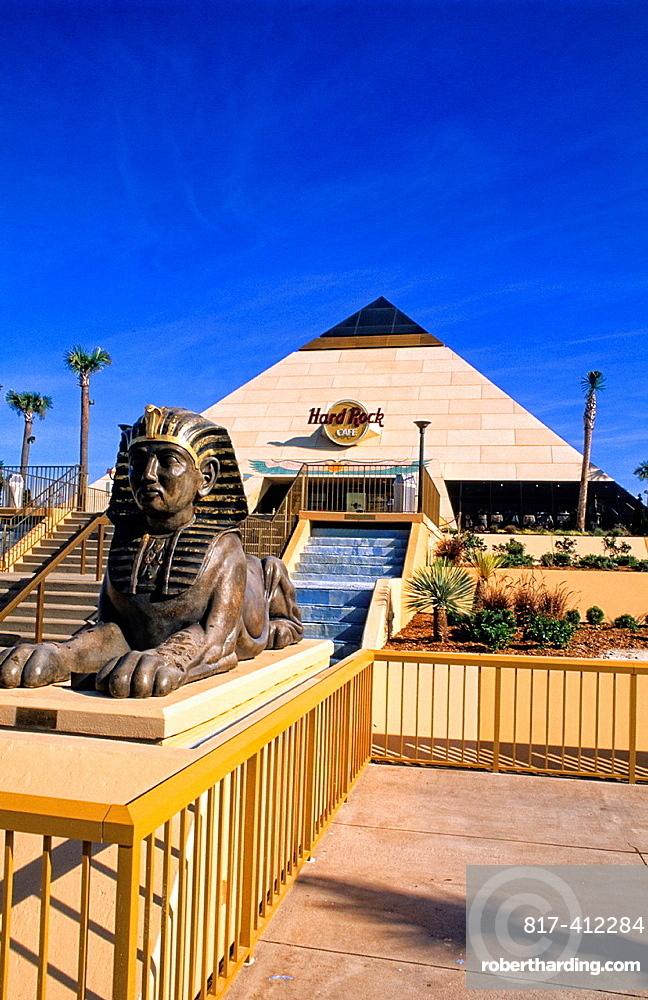 Beautiful Egyptian statue and Hard Rock Cafe in Myrtle Beach South Carolina USA