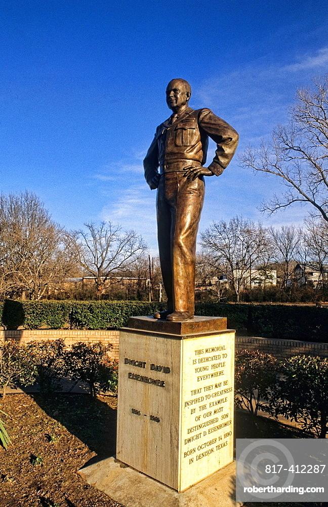 Statue of President Dwight Eisenhower hometown in Denison Texas