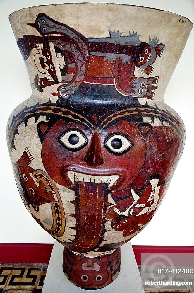 Ceramic vessel, Drum Nazca culture 100 AC-800 AC Peru