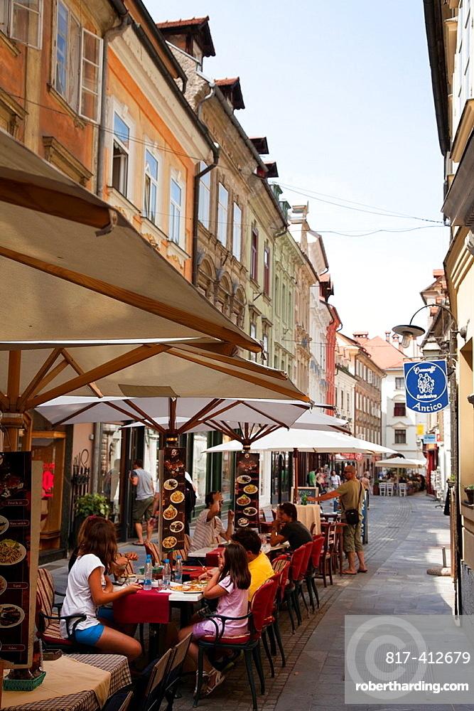 Slovenia Ljubljana Outdoor restaurant in the Old Town.