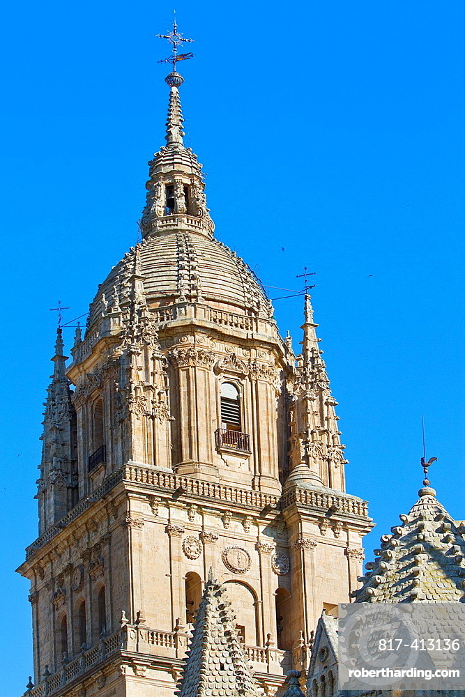 New Cathedral tower behind the romanesque Cock Tower at Old Cathedral of Salamanca, city declarated World Heritage by UNESCO Castilla y Leon Spain