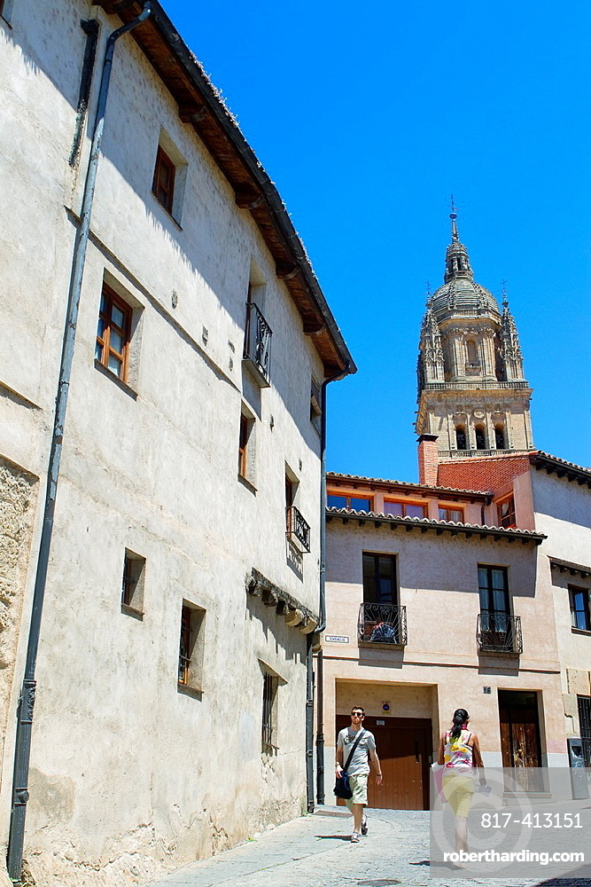 View of the New Cathedral of Salamanca from a street in the old town Salamanca Castilla y Leon Spain