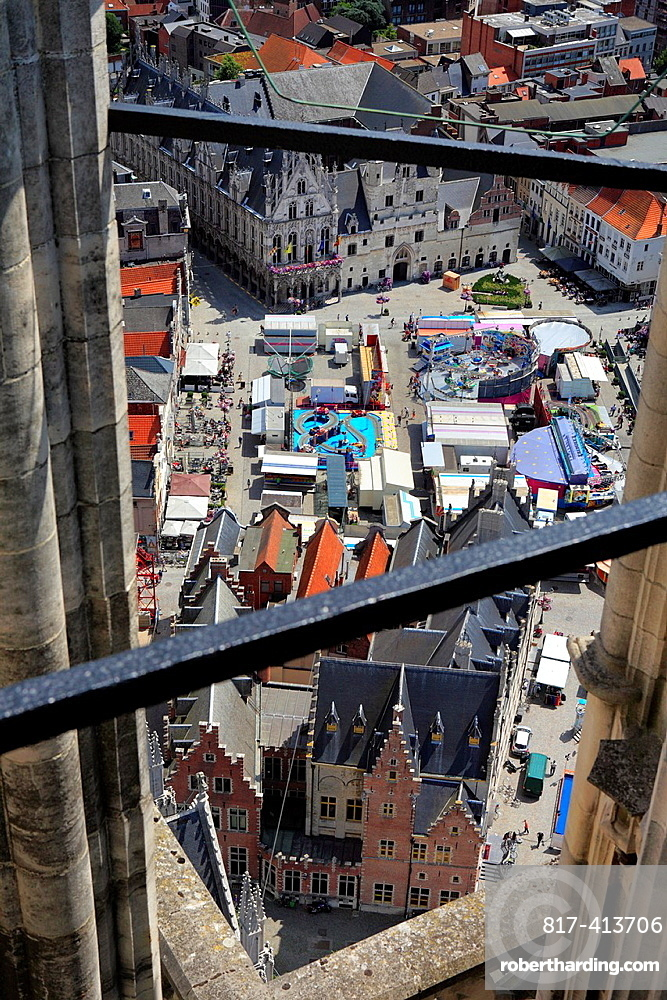 View of the city from St Rombouts cathedral bell tower, Mechelen, Belgium