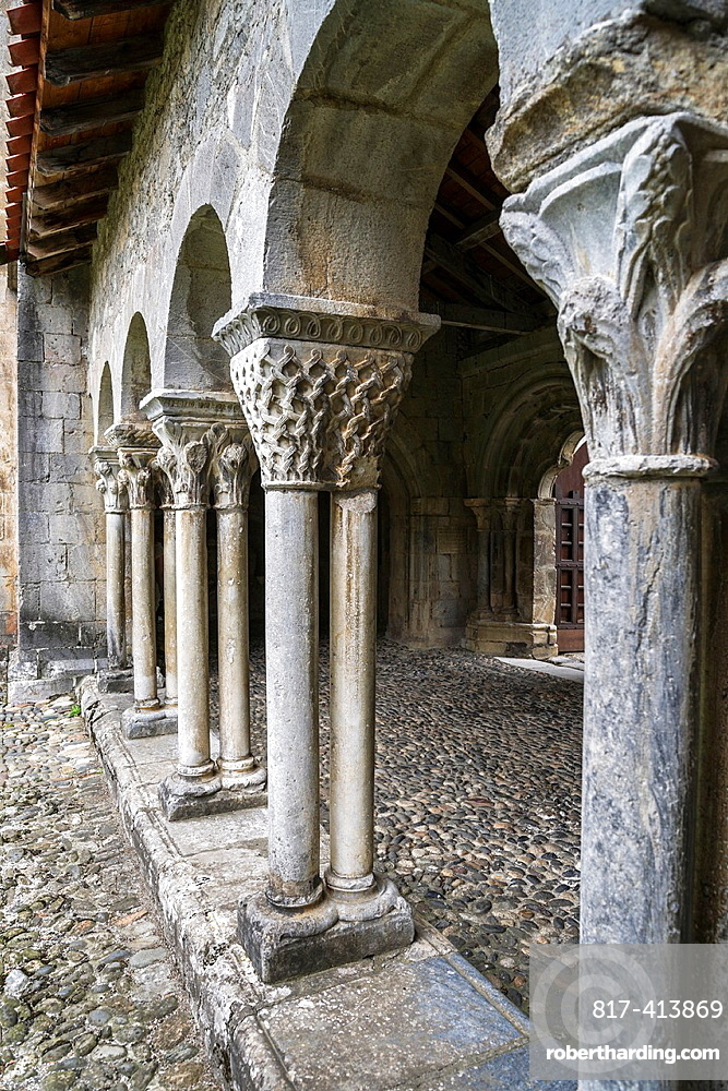 Eastern gallery of the cloister of Cathedral Notre-Dame de Saint-Bertrand-de-Comminges. Hautes-Pyrenees, France