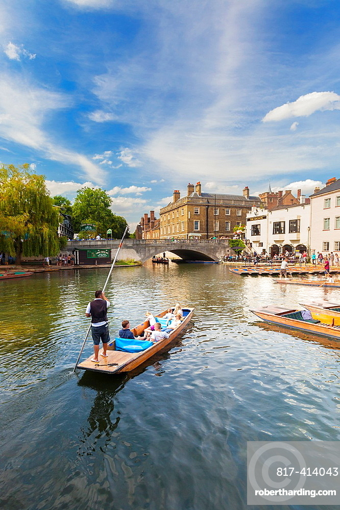 Punts on the river Cam at Laundress Green in Cambridge, England