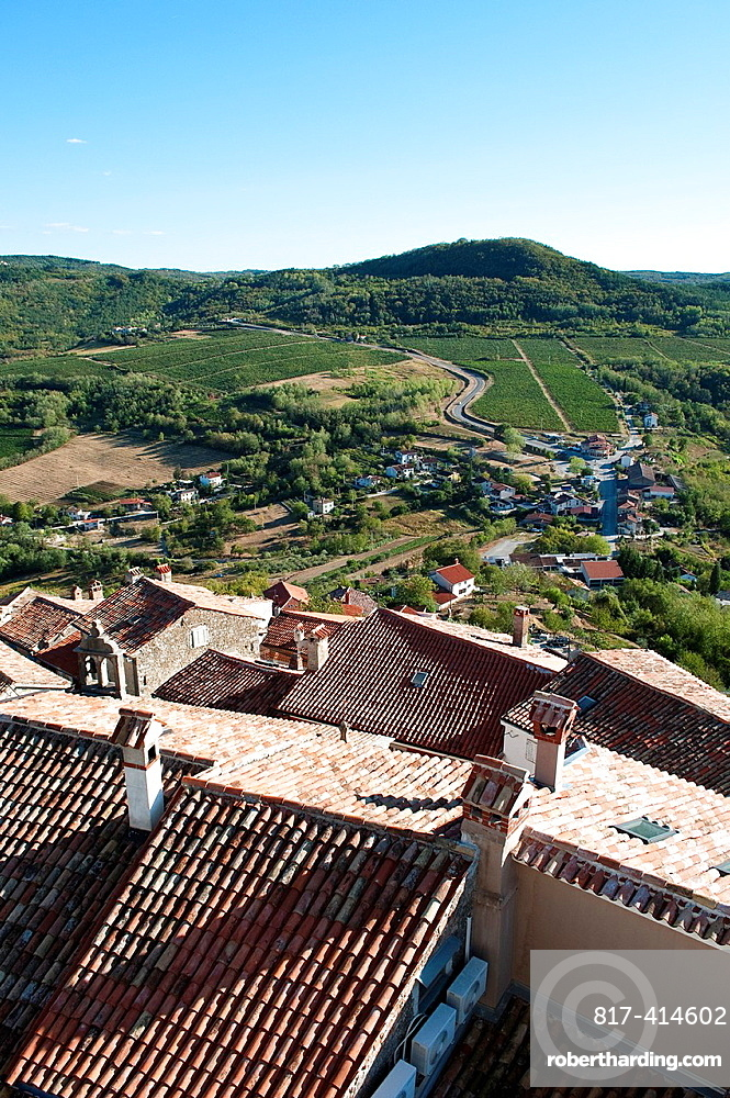 Rooftops of Motovun and Mirna River valley, Central Istria, Croatia