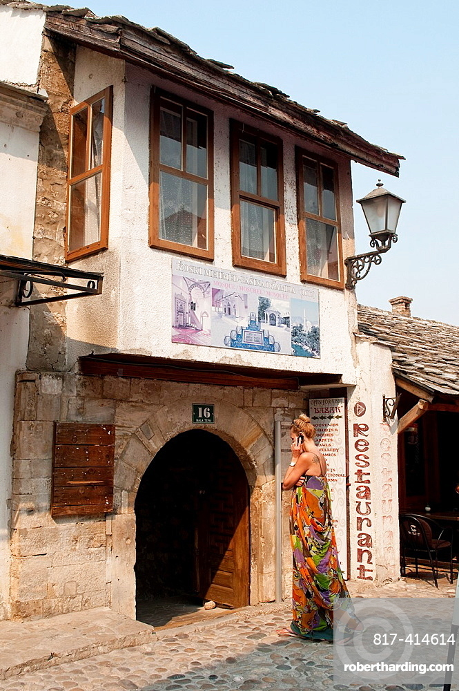 Entrance to Koski Mehmed-Pasa mosque, Old Town, Mostar, Bosnia and Herzegovina