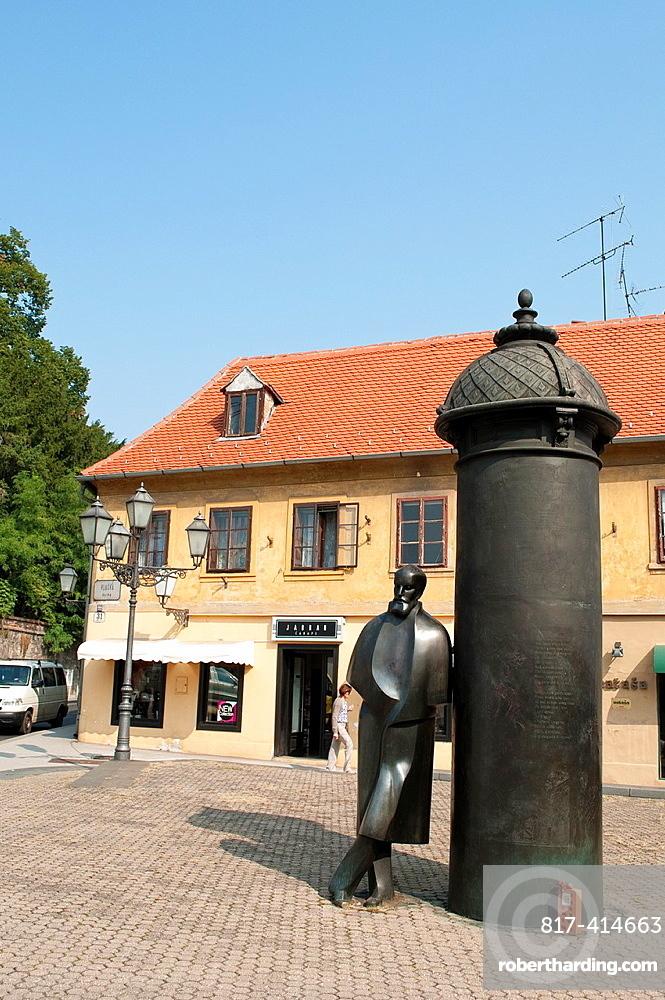 Statue of August Senoa in Vlaska street, Zagreb, Croatia