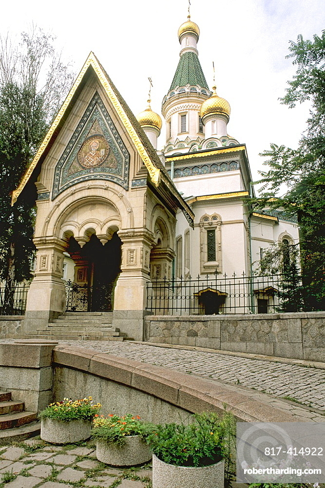 Golden Russian St Nicholas Church in capital city of Sofia Bulgaria