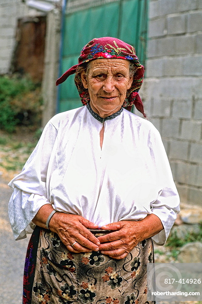 Woman in colorful clothes in Albania near Tirana