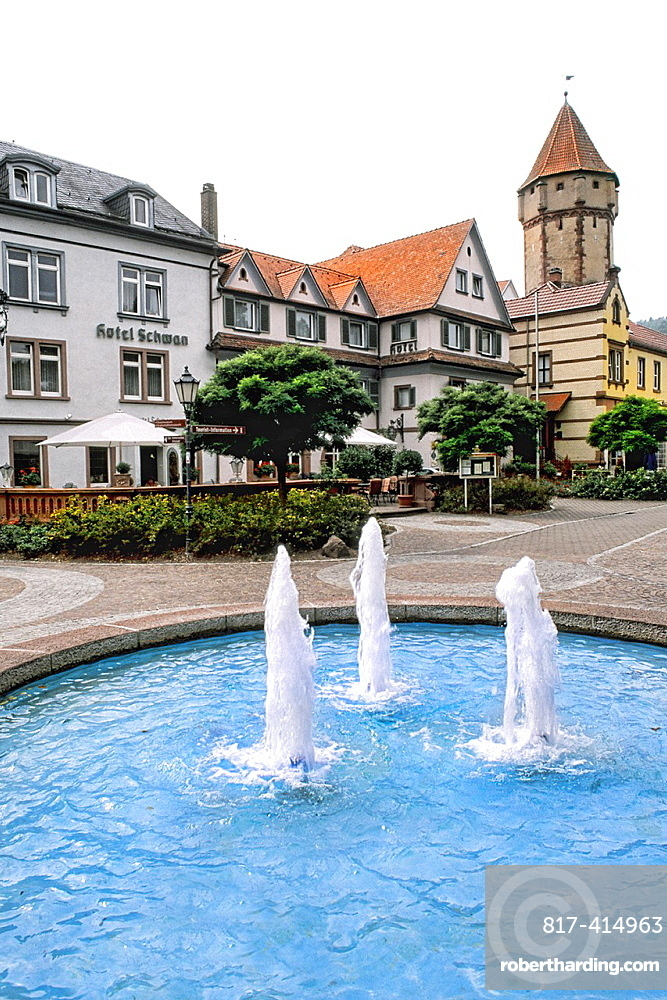Germany Wertheim Old Town by Rhine River fountains