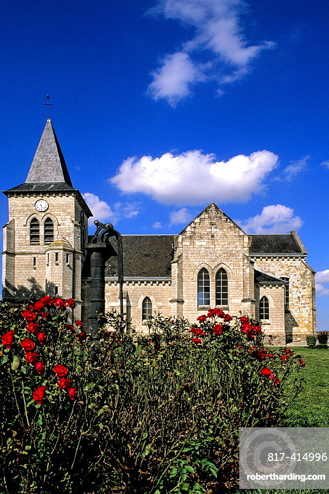 France Beautiful Catholic Church in country town of Carlu France