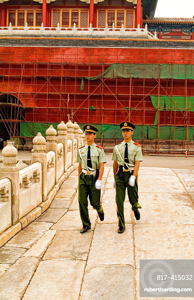 China Beijing Soldiers marching on duty in Beijing Forbidden City