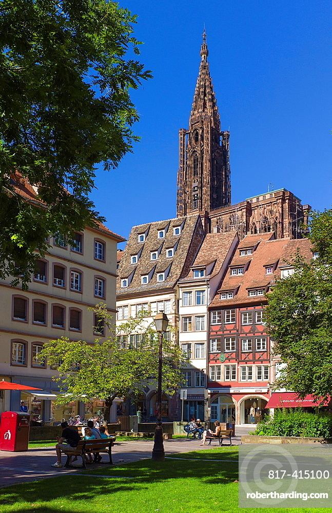 Place des tripiers square houses and Notre-Dame cathedral Strasbourg Alsace France