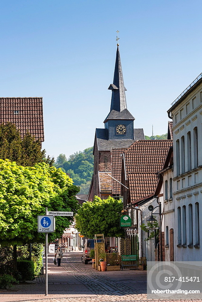 View towards St. Nicolai church in Bodenwerder on the German Fairy Tale Route, Lower Saxony, Germany, Europe