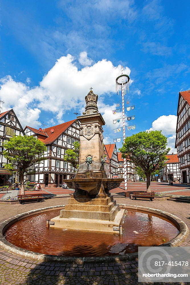 Market square in Hofgeismar on the German Fairy Tale Route, Hesse, Germany, Europe