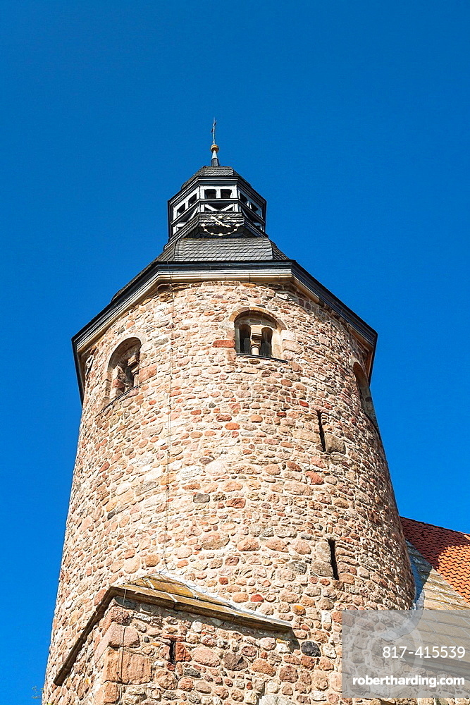 Close up of the tower of the church of St. Viti monastery in Zeven, Lower Saxony, Germany, Europe