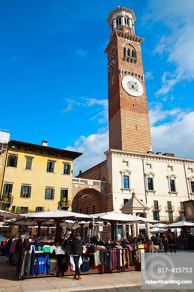 Piazza delle Erbe square with Torre dei Lamberti tower 1463 old town Verona city the Veneto region northern Italy Europe