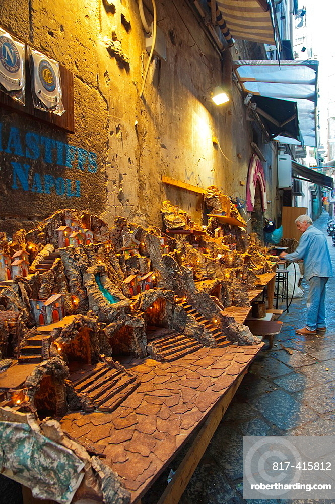 Handicraft stall off Spaccanapoli street centro storico the old town Naples city La Campania region southern Italy Europe