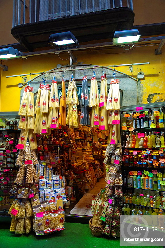 Shop for tourists selling pasta and limoncelli drink Spaccanapoli street centro storico the old town Naples city La Campania region southern Italy Europe