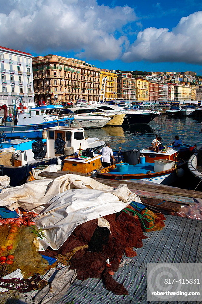 Fishing boats and nets Molo di Mergellina port Mergellina district Naples city La Campania region southern Italy Europe