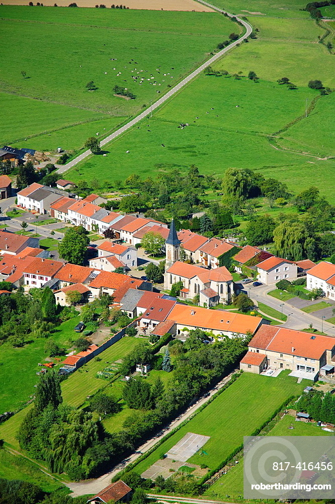 Aerial view of french village of Hemilly Moselle, Lorraine, France