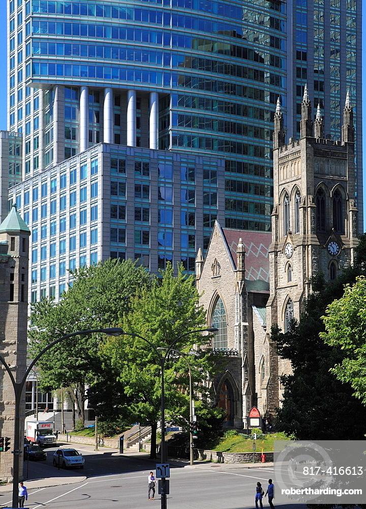 Canada, Quebec, Montreal, St Georges Church, skyscraper,
