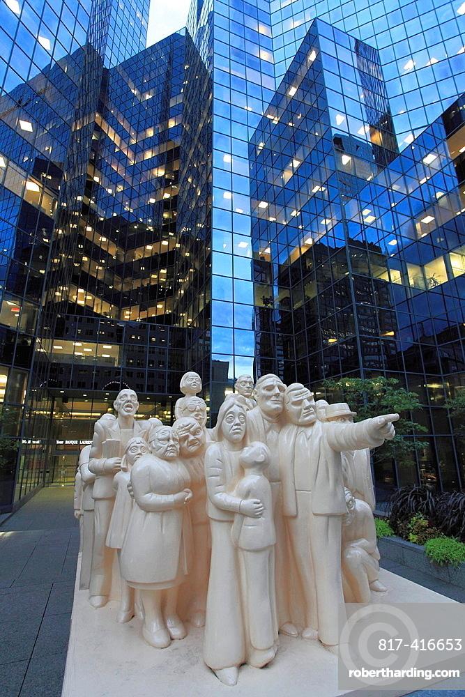 Canada, Quebec, Montreal, BNP Tower, Illuminated Crowd Statue, McGill College Avenue,